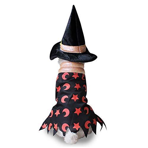 Ouken Haustier Halloween & Weihnachts-Hund-Welpen Halloween Wizard Cloak mit Hut PET Kostüm Fancy Kleid Party Anzug für Halloween & Weihnachten (Hexen Mantel, klein)