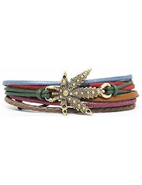 Marihuana Leaf Rope and Leather Adjustable Unisex Charm Armband