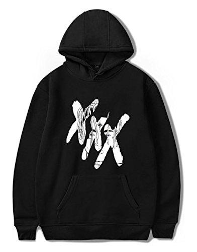 SIMYJOY R.I.P Xxxtentacion Fans Pullover Rapper Tops Musikhuldigung Rap Hoodie Coole Oberteile Streetwear für Männer Jungen Damen schwarzes XL