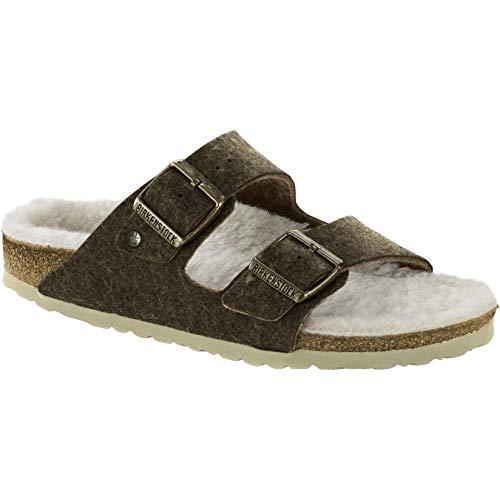 BIRKENSTOCK Arizona WZ Doubleface Unisex - Erwachsene Sandaletten,Damen,Herren Sandalen,Hausschuhe,Filz,warm,Wolle,Orig Fußbett,Grün,40N