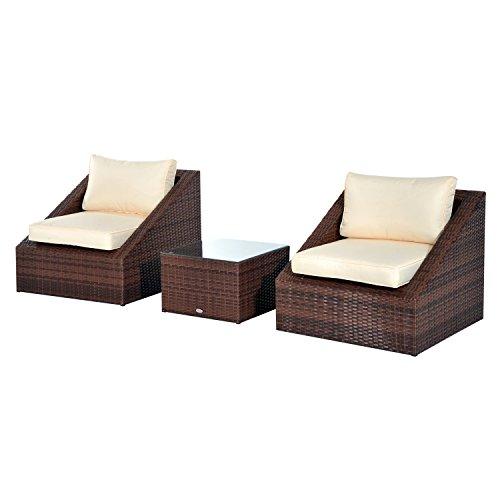 Conjunto de Muebles Poliratán de Jardín Terraza o Patio con Sillas Mesa y Cojines de Poliéster y Acero