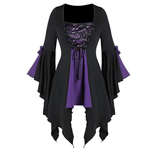 Size Gothic Tunika T Langarmshirts Pailletten Schnürbluse Hexenkostüm Cosplay Karneval Fasching Bluse Mittelalter T-Shirt Kleid Lila 2XL ()