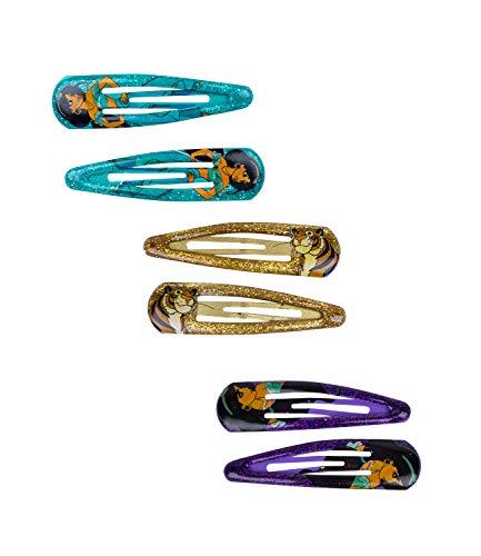 SIX Kids Haarspangen von Disney, Haarklammern in türkis, lila und Gold mit Glitzer, 1001 Nacht, Jasmin, Rajah (304-634)
