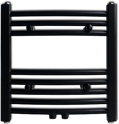 Festnight Radiador Toallero Curvo Calefactor Central de Baño 480 x 480 mm Color Negro