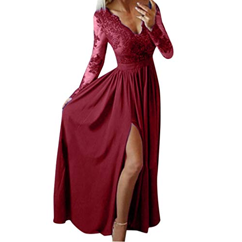 Lucky Mall Damen Sexy Spitze V-Ausschnitt Langes Kleid mit Seitenschlitz, Frauen Mode Langärmliges Schlankes Kleid Strandrock Retro Tanzrock Festkleid Party Kleid Hochzeitskleid für Rasenhochzeiten