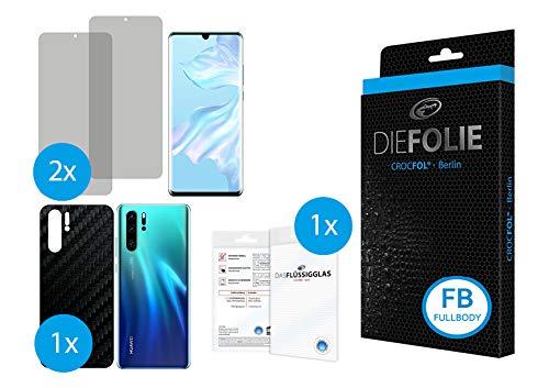 Crocfol Fullbody Carbon frustfreier Displayschutz für Huawei P30 Pro: 2X DIEFOLIE Schutzfolie für die Vorderseite [FULLCOVER] und 1x Art Carbon für die Rückseite [Backcover], inkl. 1x DASFLÜSSIGGLAS