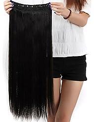 S-noilite® Mode Clip en Extensions de Cheveux Raides Longs Perruques Postiches 22 x 66cm Naturel noir