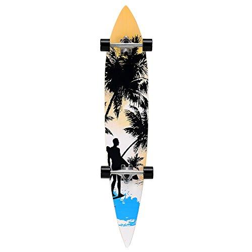 [pro.tec] Longboard (116 x 22 x 12 cm)(ABEC 7 - Kugellager) (orange - schwarz - blau - Surfermotiv) Skateboard / Surfer board / Retro board / (Retro 12 Orange)