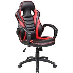 todoparaeldescanso Silla Estudio, Oficina, Gaming, Negro y Blanco, Rojo o Azul (Negro-Rojo).