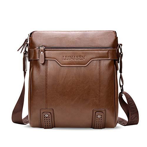 FANDARE Sacs bandoulière, 7.9 inch iPad Sac d'épaule, Homme Sac de Messager, Imperméable PU Crossbody Bag Marron