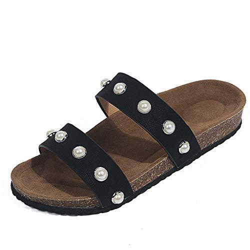 HILOTU Frauen Sommer Doppel Riemchen Rutsche Sandalen Perle Open Toe Slip-on Wohnungen Mode Bequeme Einfache Schuhe (Color : Schwarz, Size : 43 EU) Open Toe Holz