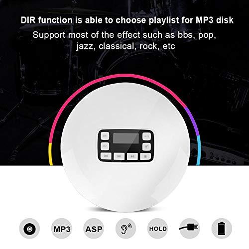 Richer-R Lecteur CD avec Sortie Audio de Haute qualité, Portable Antichoc Bluetooth HiFi stéréo Lecteur de Musique CD avec écouteurs EU Plug... 7