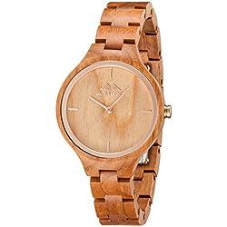 greentreen de madera relojes Natrual madera de cerezo reloj para Lady ajustable correa de Mini Miyota movimiento