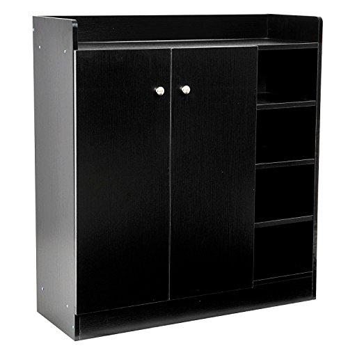 Homcom scarpiera in legno armadio entrata corridoio con 2 ante 3 ripiani 83 x 30 x 90 cm nero