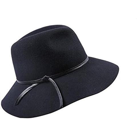 WE&ZHE Cappello di feltro di lana ampia tesa Bowler Fedora moda viaggi elegante Retro cappello femminile britannico stile elegante autunno e inverno , black