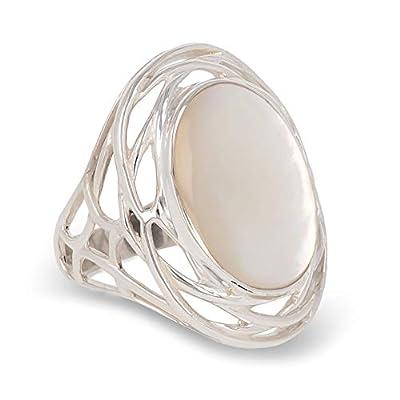 cadeau femme original-Bague cabochon de nacre blanche ovale sur nid d' argent-Femme-Blanc