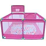 Baby Laufgitter Baby Laufgitter, Indoor Ball Pool Kind Kleinkind Sicherheitszaun mit Shoot einen Korb Zaun-hoch 60cm (Farbe : Pink)