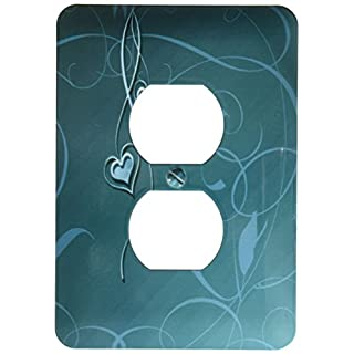 3dRose LLC lsp_108522_6 Elegant Dangling Hearts On Vine Design, Aqua Green 2 Plug Outlet Cover