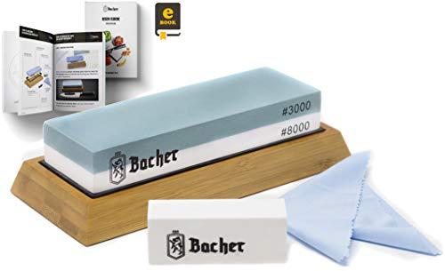 Bacher Premium Schleifstein. Zweiseitig, Körnung 3000/8000 Wetzstein Abziehsteine. Messerschärfer Wasserstein mit rutschfestem Bambusblock, Läppstein und detaillierter eBook-Anleitung
