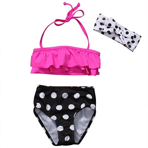 Baby-Mädchen-einteilige Badebekleidungs-Rüsche-Badeanzug-Polka-Punkt-Schwimmen-Kostüm (1-2 Jahre, Rose Red)