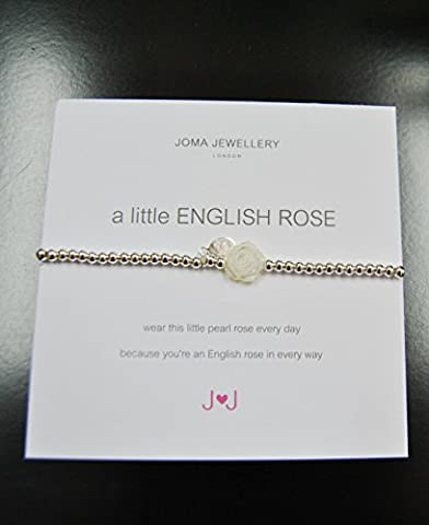 A Little English Rose Bracelet - Ladies Silver plated Nickel Free Bracelet with Pearl Rose - Joma Jewellery with Gift bag