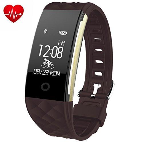 Foto de Brazalete de fitness con pulsómetro efoshm resistente al agua IP67Fitness Tracker Watch Actividad podómetro reloj con dormir Monitor contador de calorías, vibración Alarma llamada SMS WhatsApp para Android IOS, color marrón