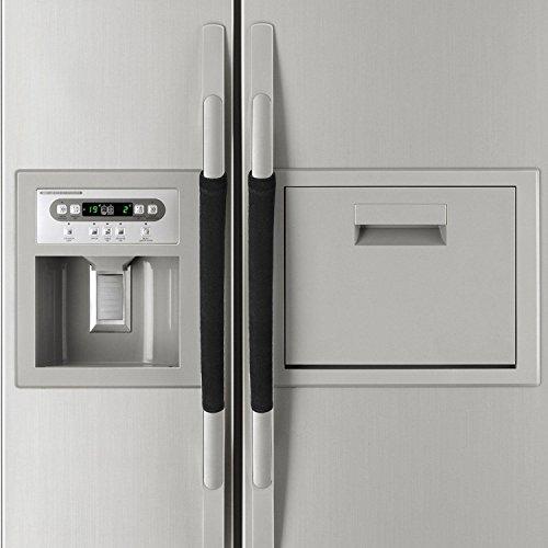 EUYOUZI Refrigerator Door Handle Covers,Double-Door Fridge Door Knob Covers,for Kitchen Appliances Gloves Microwave Dishwasher Door Protector 1 Pair (Black) -