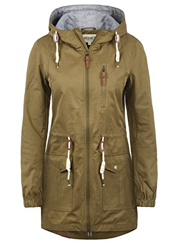 DESIRES Inata Damen Übergangsmantel Parka Lange Jacke Mit Kapuze, Größe:M, Farbe:Ermine (5944)