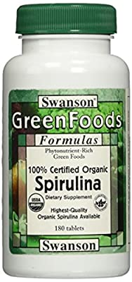 Swanson Greens Cert Organic Spirulina 500mg, 180 Tablets from Swanson Health Products