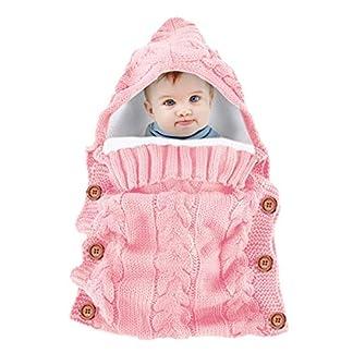 Yinuoday – Saco de dormir con capucha para bebé recién nacido, manta para bebés de 0 a 12 meses, diseño de actualización rosa rosa Talla:30»X14»