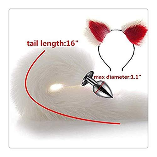 Z-one 1 Cosplay Kostüm Ohrhaar Kopfschmuck Stirnband Anale mit Fuchs B-̈1tt an-?l pl- ̈̈̈ ̈ Tail für Motto und Halloween-Party (weiß & rot)