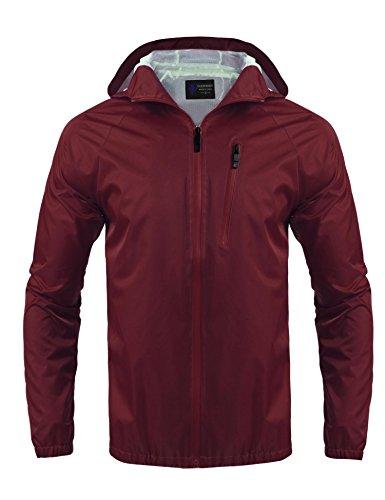 Regenjacke Herren Windbreaker Zipper Übergangsjacke Wasserdicht Atmungsaktiv Outdoor jacke Kapuzenjacke Funktionsjacke Rot XL 42