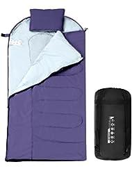 Enkeeo Sacco a Pelo Impermeabile IPX4, Materiale Esterno Taffetta Interno Tessuto di Seta Respirante, Leggero Compatto per Campeggio Escursione, Include Sacchetto Compressione, Viola (Cerniera Lampo a Destra)