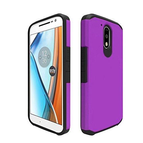 Orzly® Duo-Armour Case para MOTO G4 / G4 PLUS SmartPhone (2016 Lenovo Version de Motorola Modelo Teléfono Móvil) - Funda durable y ligero Capa Doble de mayor agarre y defensa - PÚRPURA