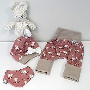 ANGEBOT Set – Hose, Schleifenmütze, Halstuch – sweet Elephants (Beige) Schleife Weiß Baby Mädchen