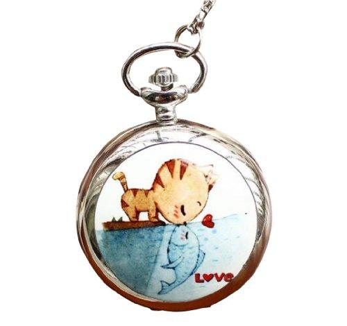 Infinite U El beso de Gato y Pez Colgante con Espejo Reloj de bolsillo de Cuarzo Grande para Mujer Collar Plateado