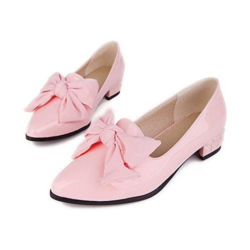 AgooLar Damen Ziehen Auf Spitz Zehe Niedriger Absatz Pu Leder Rein Pumps Schuhe Pink