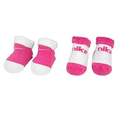 Mädchen Für Nike-socke (Baby Bootie-Pack 2 Paires Chaussettes Nike White-Pink (Pointure 16-18 EUR))