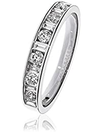 0.55CTS Certified G/VS2 Brilliant Cut and Baguette Half Eternity Ring 18k White Gold