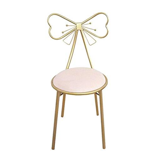 Full Love House Schminkstuhl Kreativ Bowknot Eisen Nordeuropa Einfache und Moderne Freizeit Rückenlehne Stuhl Restaurant Stuhl Esszimmerstuhl (Farbe : Pink) -