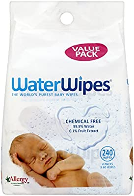 WaterWipes Toallitas Húmedas, Piel Sensible, Pack de 4 - 60 (Total 240 toallitas)