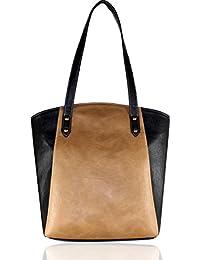 Fargo Motley PU Leather Women's & Girl's Tote Handbag (Beige,Black_FGO-007)