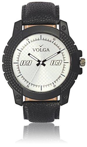 Vastrang Leather Analog White Dial Men's Watch(VL38_Black_Boys)