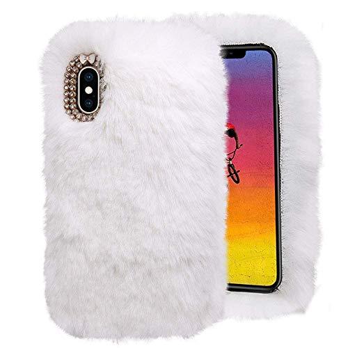 QINPIN Für iPhone XS Max 6.5inch warme Flauschige Villi Plüsch Wolle Bling Hülle Schutzhülle Weiß