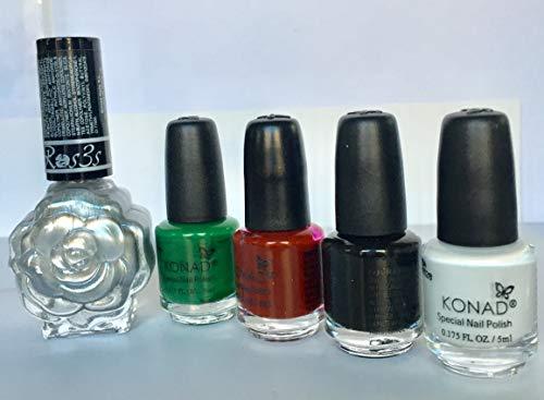 KONAD- Kit de 5 esmaltes para estampar: Blanco