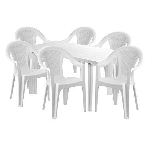 Mojawo® Praktisch und Schön! - Gartengarnitur 7-teilig - Esstisch Kunststoff 125x75x72cm + 6 Stapelstühle - Kunststoff - Weiß