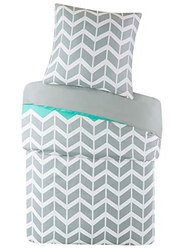 SCM Bettwäsche 135x200cm Grau Grün Mikrofaser 2-teilig Bettbezug & Kissenbezug 80x80cm Geometrisch Chevron Nadia Ideal für Schlafzimmer -