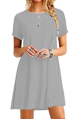 YMING Damen Shirtkleid Casual Tunikakleid Rundhals Longshirt Kurzarm Loose T-Shirtkleid,Hell Grau,XS/DE 32-34