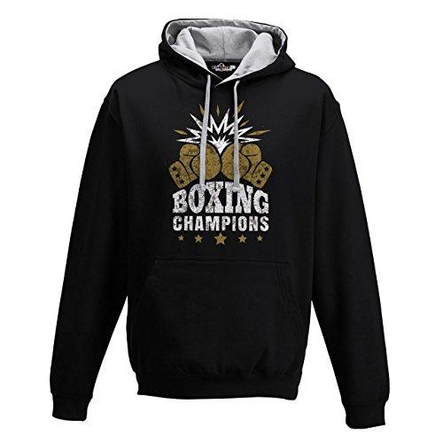 Sudadera capucha Bi Boxeo Boxeo Boxing Champions Ring combate Saco 1, Jet Black-Heather Grey, Large