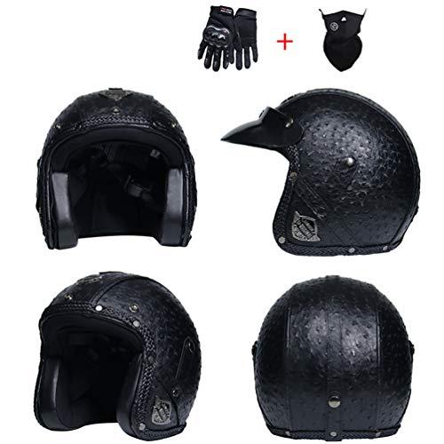 Leder Harley Motorradhelm Anti Fog UV Schutz Vollvisiermotorradhelme mit Objektiv Moto Motorcross Caps für Outdoor Racing Radfahren Mountainbike -
